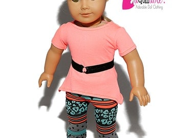 American made Girl Doll Clothes, 18 inch Doll Clothing, Asymmetrical Top, Cheetah Leggings made to fit like American girl doll clothes