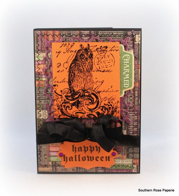 Halloween Greeting Card, Spooky Owl, Happy Halloween, Fancy Handmade Card, Luxury Halloween Card, Hand Stamped Card, Halloween Gift, Party