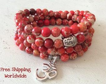 Orange Necklace or Bracelet, Mala Prayer Beads, 108 Beads, Buddhist Rosary, OM Yoga, Yoga Wrap, Reiki Charged, Calming Beads, Buddhist Mala