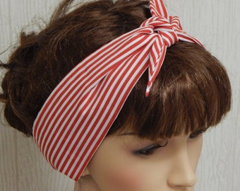 Rockabilly Hair Scarf Headband Red and White Striped Pinup Vintage Retro Style 50's Head Wrap Self Tie Head Scarf