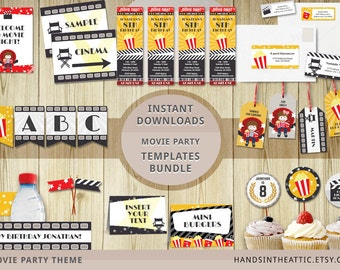 Movie party templates bundle, editable downloads, cinema theme party printables, movie night package, INSTANT download movie party props PDF