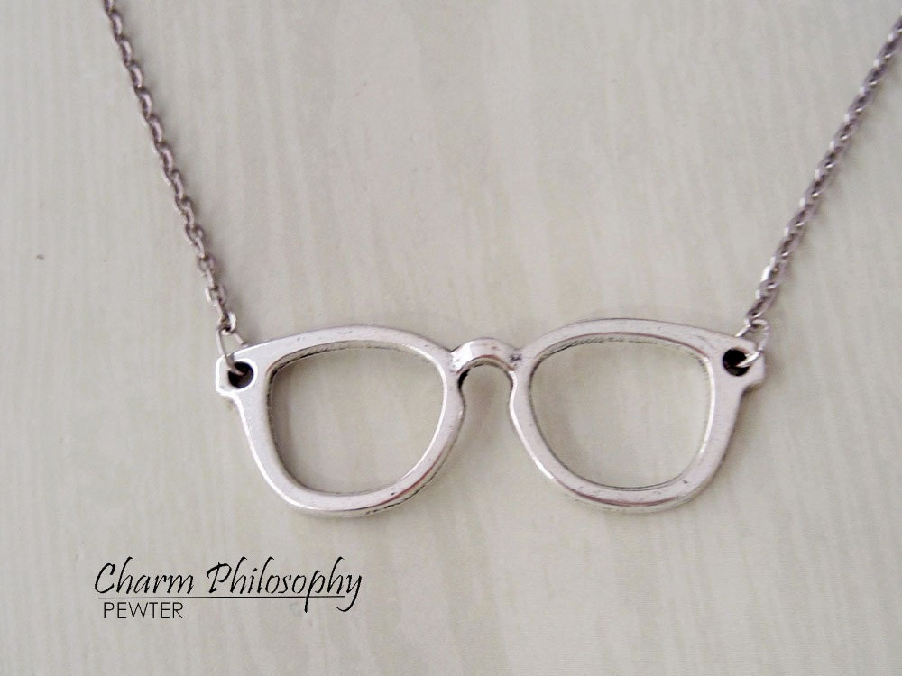 Vintage Silver Eyeglass Frames : Eyeglasses Necklace Antique Silver Jewelry Spectacles