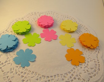 Flower Die Cuts  - Favor Tags - Card Making - Quantity of 100 - Vibrant Colors