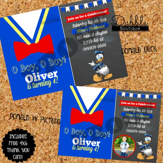 Donald Duck Birthday Invitation Donald Duck with Picture Birthday – Donald Duck Birthday Card