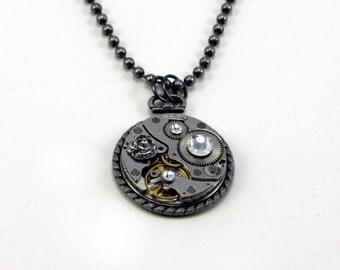 Steampunk Pendant Vintage Watch Movement Silver Rose Swarovski