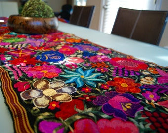 Good Embroided Floral Mexican Table Runner.