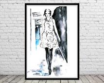Parisian street, Pretty Parisian, Fashion Illustration (2090b)