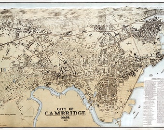 Cambridge, Massachusetts (MA.) 1850. Franklin View Co.  Vintage restoration hardware home Deco Style old wall reproduction map print.