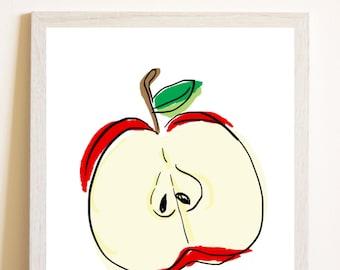 Red apple print, Apple kitchen art,Kitchen print, Fruit print, Fruit art print, Kitchen gift, Kitchen fruit art, Printable gift, Red print