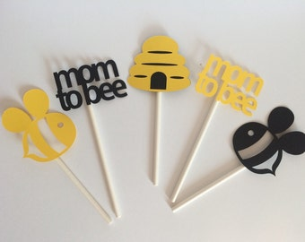 Mom To Bee Cupcake Toppers Set Of 12 Themed Baby