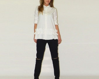 White shirt / Ruffle shirt / Asymmetric shirt