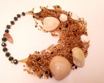 Golden and black seed bead necklace – golden black beads necklace with seashells – airy multi strand seed bead necklace