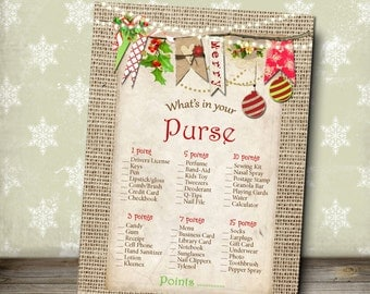 Christmas Game, What's in Your Purse Game, Rustic Holiday Game, Christmas Lights, Christmas Red, Printable Game, 5x7, Instant Download