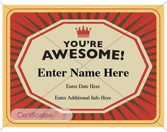 Birthday certificates pack digital download certificates for youre awesome certificate kid certificate student certificate template teacher certificate yadclub Image collections