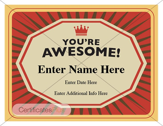 Youre awesome certificate kid certificate student youre awesome certificate kid certificate student certificate template teacher certificate child certificate thank you card yelopaper Image collections