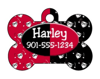 Harley Quinn Pet Id Dog Tag Personalized w/ Your Pet's Name & Number