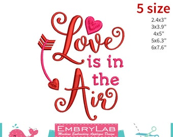Machine Embroidery Applique Design Valentin Lettering Love Is In The Air (16098)