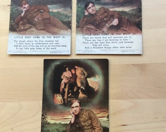 Vintage Set of 3 WWI Sweet Heart Postcards. .  Dated From Around the 1910's.