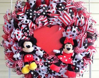 Mickey and Minnie Disney Door Wreath
