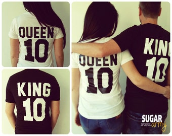 King queen shirts, King and queen shirts, King queen matching couples shirts, king queen shirt, queen king shirts, matching couples shirts