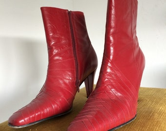 Spicy red (faux?) leather boots