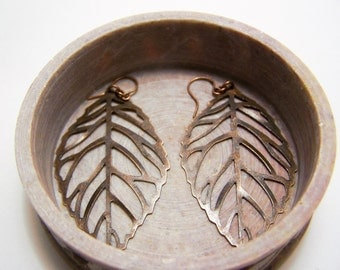 antiqued copper earrings with large antiqued copper leaf filigree