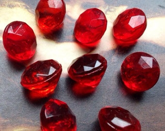 8 beautiful old collector / glass buttons - red glass bead buttons - vintagebuttons 11 mm (026)