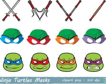Ninja Turtles masks - Birthday Party - Ninja Turtles Party -  Ninja Turtles Photo Booth Props - instant download digital file PNG