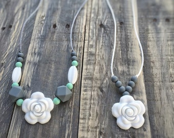 Silicone Bead Baby Teething Jewelry / Nursing Necklace for Mom and Baby Shower Gift - New Mom Gift - Teether - Soother - Teething Necklace