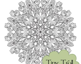 Organic Mandala Adult Coloring Page - Instant Digital Download - Printable