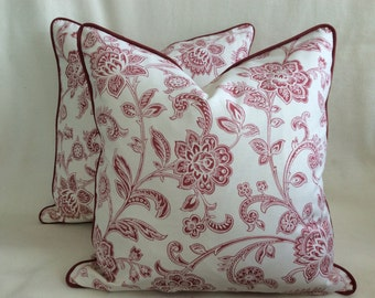 Traditional Floral Designer Pillow Cover Set - Red Clay/ Natural