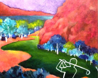 Golf painting in acrylic, series of 5 - Euphoria