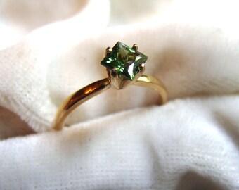Natural Green Zircon Ring - Spectacular Sparkle!