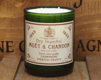 Upcycled 1953 Vintage Champagne Bottle Candle