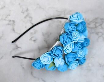 Pale Blue Rose Flower Headpiece / Fascinator - Copper Headband