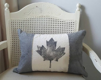 Hand-dyed Canadian flag pillow   Grey