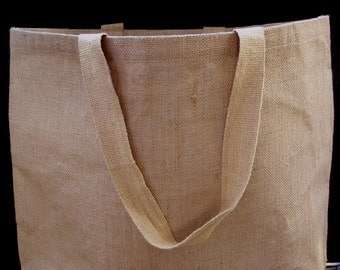 "Large Burlap Tote Bag Lined 20x14"" Gift Bag, Welcome Bag"