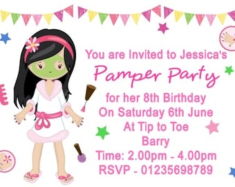 Girls Pamper Party PERSONALISED Birthday Party Invitations x 10