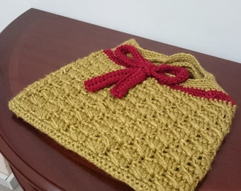 Homemade Gold Crocheted Tablet Bag
