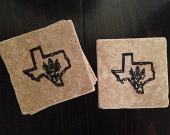Texas Bluebonnets- Travertine Coaster Set
