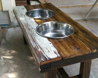 Reclaimed Single, Double, Triple Dog Bowl Feeders