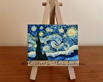 Mini canvas with easel, original, hand-painted acrylic on canvas 5 x 7 cm