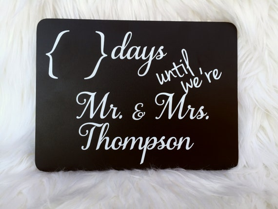 Gift, Countdown Chalkboard, Wedding Day Countdown, Engagement Gift ...
