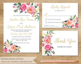 Watercolor Floral Wedding Invitation. Printable Wedding Invitation. Floral Wedding Invitation. Boho Wedding Invitation.Customized Invitation