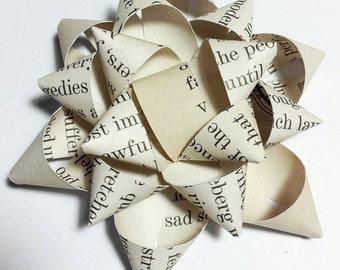 Mini Book Gift Wrap Bows Made using repurposed books