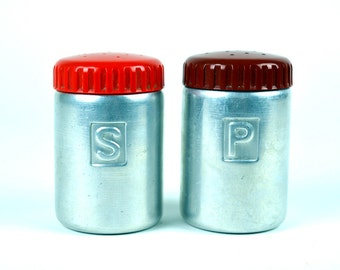 Metal Salt & Pepper Shakers Vintage Mid-Century Red Top Brushed Steel Kitchen Food Cooking Foodie Serving Repurpose Antique Retro Silver MCM