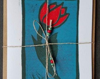 Red Tulip Card, Original Linocut Print, Handmade Card,  spring card, 3/10,Valentine's Card,Thank you Card,Tulip Print,Red Flower Card