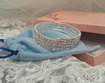 WRAP Bracelet, 4-Row Rhinestone, Cuff Bracelet, 1.5 cm wide