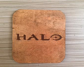 Halo Laser Engraved Wood Coaster Set