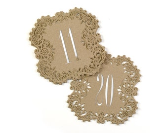 Kraft Table Numbers Wedding Reception Laser Cut Table Number Cards 11 To 20
